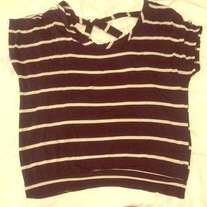 Tops - Tan and navy striped tee